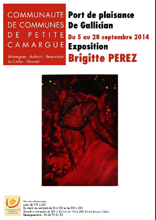 """<span style=""""color:#e80014; font-weight:bold;"""">Expo<br />Brigitte PEREZ</span><br />au Port de plaisance<br />de Gallician<br /><span style=""""font-style:italic;"""">du 5 au 28 septembre</span>"""