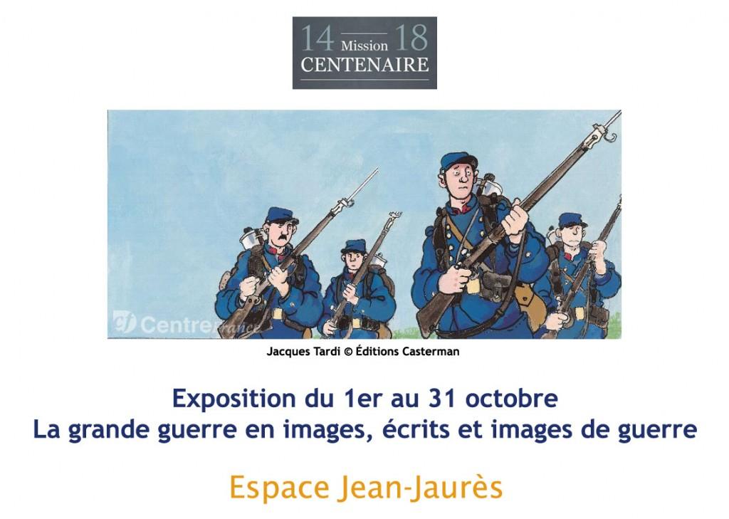 """<span style=""""color:#e80014; font-weight:bold;"""">Expo<br />La grande guerre en images</span><br />Espace Jean Jaurès<br /><span style=""""font-style:italic;"""">du 1er au 31  octobre</span>"""