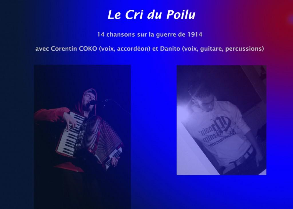 """<span style=""""color:#e80014; font-weight:bold;"""">Concert<br />Le Cri du Poilu</span><br />Espace Jean Jaurès<br /><span style=""""font-style:italic;"""">à 20h30</span>"""