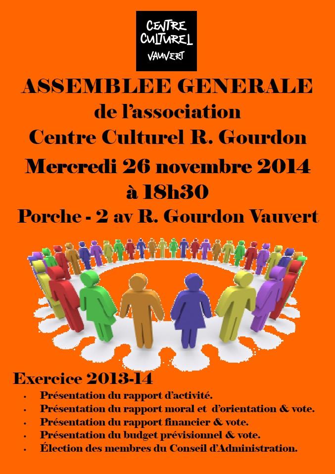 """<span style=""""color:#e80014; font-weight:bold;"""">Assemblée générale<br />Centre culturel Robert Gourdon</span><br /><span style=""""font-style:italic;"""">à 18h30</span>"""