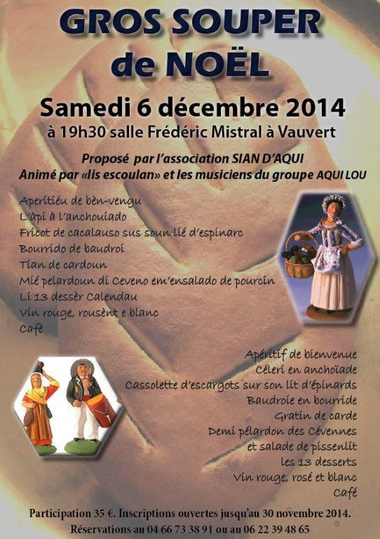 """<span style=""""color:#e80014; font-weight:bold;"""">Gros Souper de Noël</span><br />Salle Frédéric Mistral<br /><span style=""""font-style:italic;"""">à 19h30</span>"""