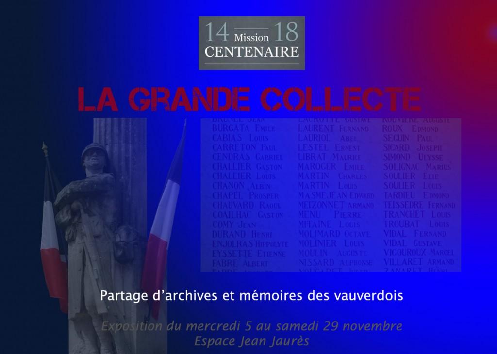 """<span style=""""color:#e80014; font-weight:bold;"""">Expo<br />La grande collecte</span><br />Espace Jean Jaurès<br /><span style=""""font-style:italic;"""">du 5 au 29 novembre</span>"""