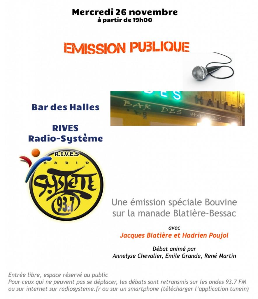 """<span style=""""color:#e80014; font-weight:bold;"""">Emission publique<br />Spéciale Bouvine</span><br />Bar des Halles<br /><span style=""""font-style:italic;"""">à partir de 19h00</span>"""