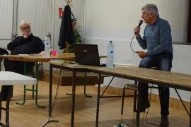 Michel Falguières et Robert Faure (avec le micro)