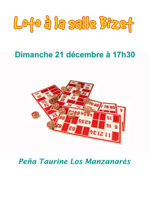 "<span style=""color:#e80014; font-weight:bold;"">Loto<br />Peña taurine Los Manzanarès</span><br />Salle Bizet<br /><span style=""font-style:italic;"">à 17h30</span>"