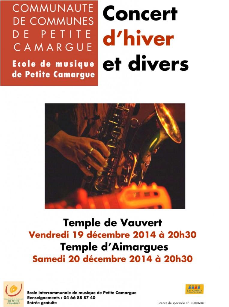 "<span style=""color:#e80014; font-weight:bold;"">Concert d'hiver et divers</span><br />Temple d'Aimargues<br /><span style=""font-style:italic;"">à 20h30"