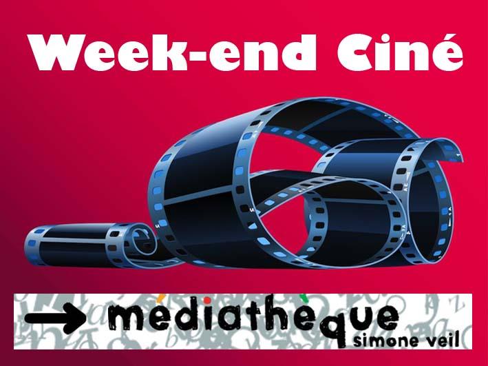 """<span style=""""color:#e80014; font-weight:bold;"""">Week-end Ciné</span><br />Médiathèque<br />Simone Veil<br /><span style=""""font-style:italic;"""">27 mars à 19h00<br />28 mars à 14h30</span>"""
