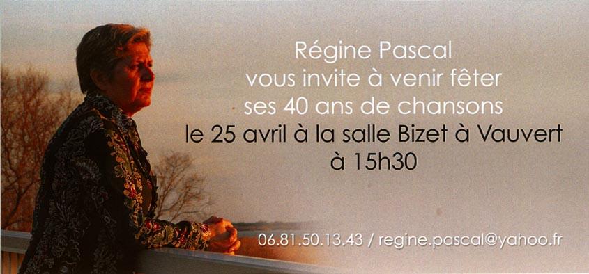 """<span style=""""color:#e80014; font-weight:bold;"""">Régine Pascal<br />40 ans de chansons</span><br />Salle Bizet<br /><span style=""""font-style:italic;"""">à 15h30</span>"""