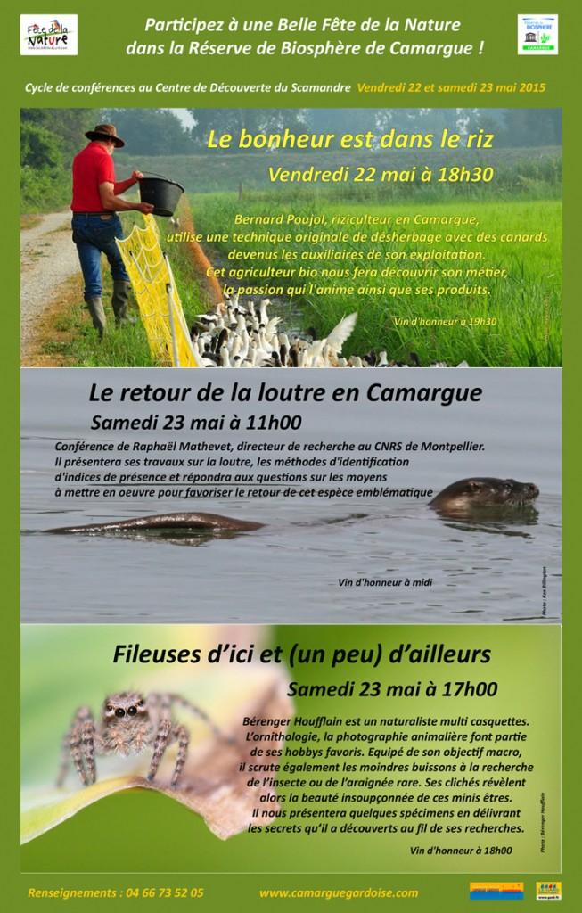 """<span style=""""color:#e80014; font-weight:bold;"""">Fête de la Nature<br />Conférence<br />Bernard Poujol</span><br />Centre du Scamandre<br /><span style=""""font-style:italic;"""">à 18h30</span>"""