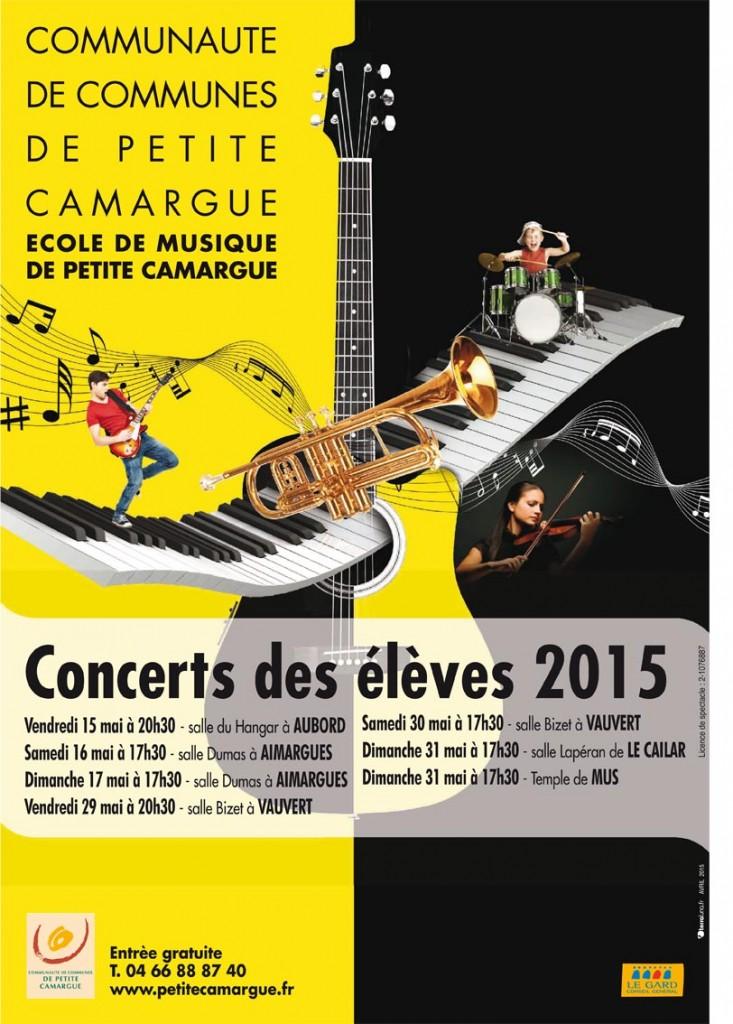 """<span style=""""color:#e80014; font-weight:bold;"""">Concert des élèves<br />Ecole de musique<br />de Petite Camargue</span><br />Salle Bizet<br />Vauvert<br /><span style=""""font-style:italic;"""">à 20h30</span>"""
