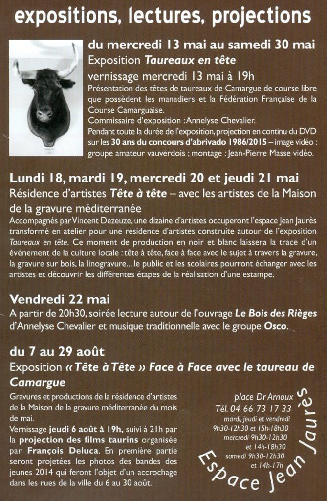 """<span style=""""color:#e80014; font-weight:bold;"""">Expo<br />Taureaux en tête</span><br />Espace Jean Jaurès<br /><span style=""""font-style:italic;"""">du 13 au 30 mai"""