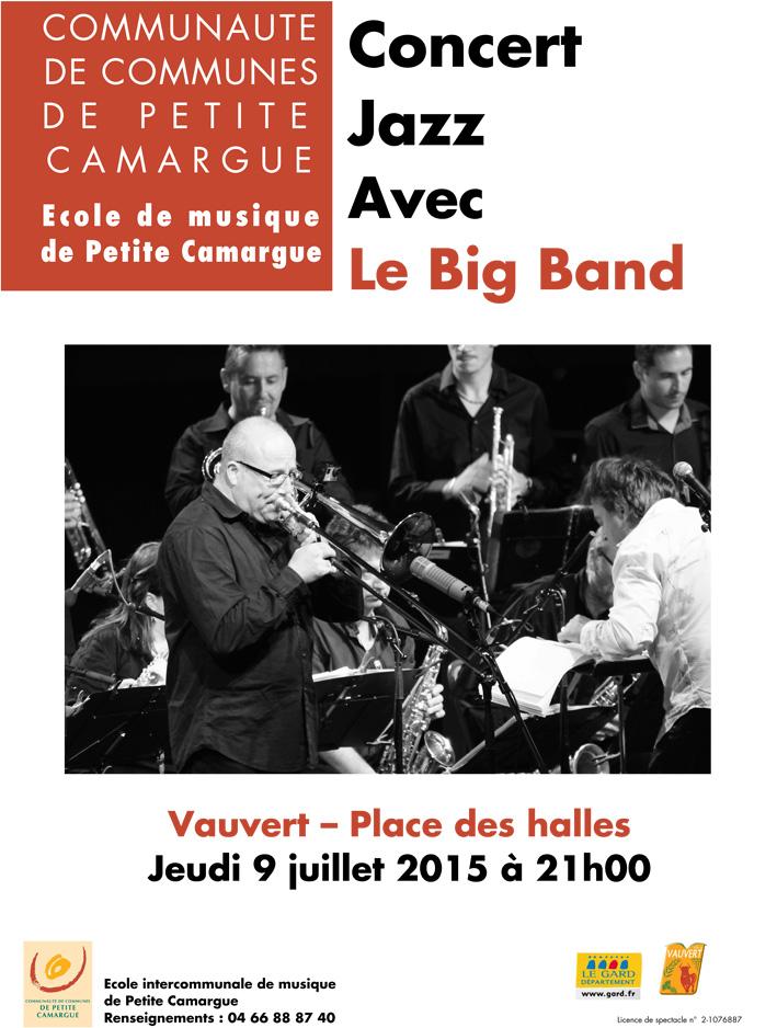 """<span style=""""color:#e80014; font-weight:bold;"""">Concert Jazz<br />avec le Big Band</span><br />Place des Halles<br />Vauvert<br /><span style=""""font-style:italic;"""">à 21h00</span>"""
