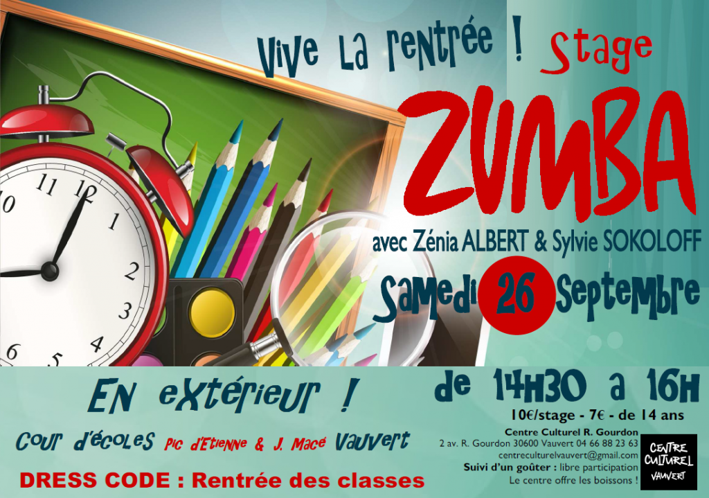 """<span style=""""color:#e80014; font-weight:bold;"""">Stage Zumba</span><br />Ecole Jean Macé<br /><span style=""""font-style:italic;"""">de 14h30 à 16h00</span>"""