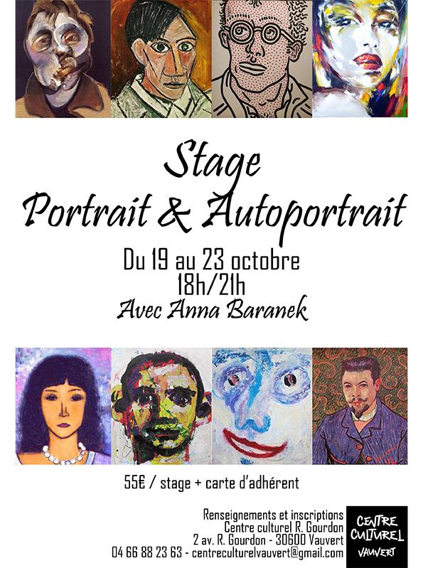 """<span style=""""color:#e80014; font-weight:bold;"""">Stage Portrait & Autoportrait</span><br />Centre culturel<br /><span style=""""font-style:italic;"""">du 19 au 23 octobre</span>"""