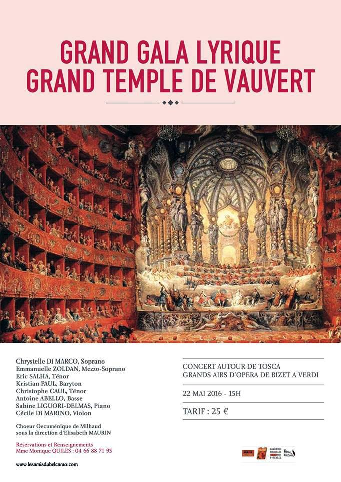 "<span style=""color:#e80014; font-weight:bold;"">Grand Gala Lyrique<br />du Bel Canto</span><br />Grand Temple de Vauvert<br /><span style=""font-style:italic;"">à 15h00</span>"