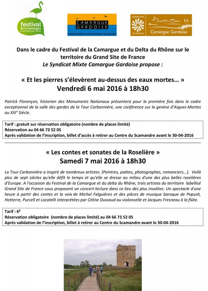 """<span style=""""color:#e80014; font-weight:bold;"""">Festival de la Camargue</span><br />Tour Carbonière<br /><span style=""""font-style:italic;"""">vendredi 6 mai<br />samedi 7 mai<br />à 18h30</span>"""