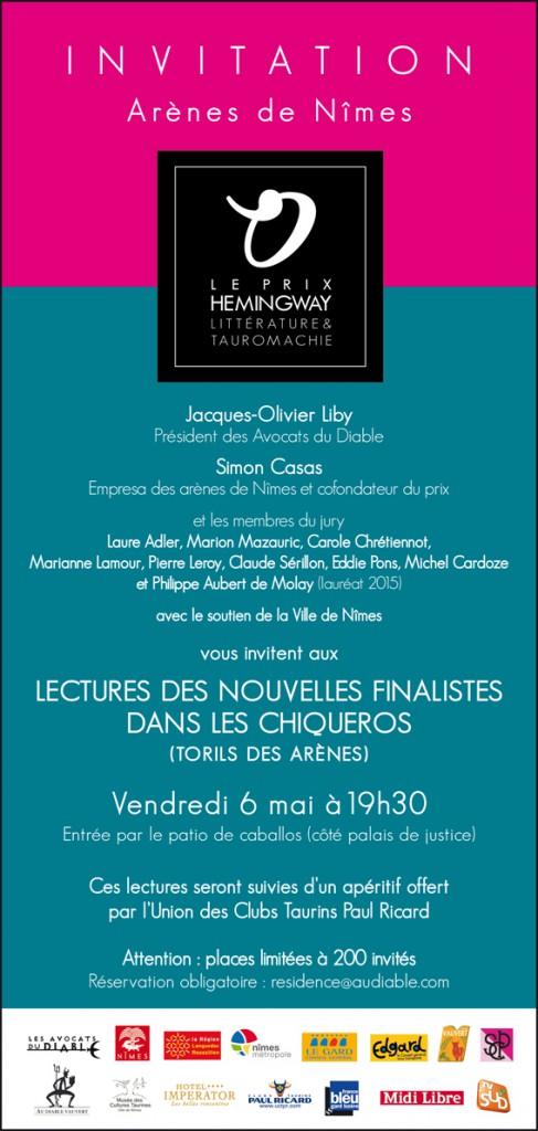 """<span style=""""color:#e80014; font-weight:bold;"""">Prix Hemingway<br />Lectures des nouvelles finalistes</span><br />Arènes de Nîmes<br /><span style=""""font-style:italic;"""">à 19h30</span>"""