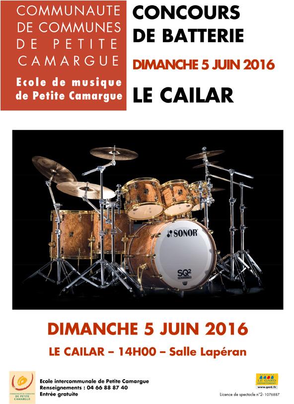 """<span style=""""color:#e80014; font-weight:bold;"""">Concours de batterie</span><br />Salle Lapéran<br />Le Cailar<br /><span style=""""font-style:italic;"""">à 14h00</span>"""