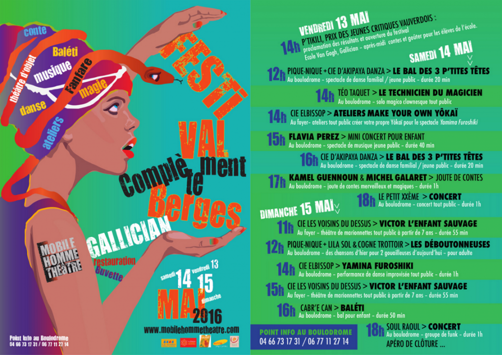 "<span style=""color:#e80014; font-weight:bold;"">Festival<br />Complètement Berges</span><br />Gallician<br /><span style=""font-style:italic;"">vendredi 13 mai<br />samedi 14 mai<br />dimanche 15 mai</span>"