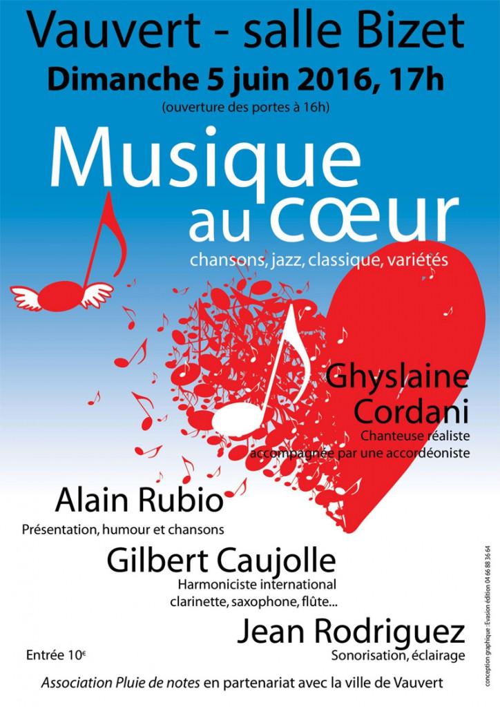 "<span style=""color:#e80014; font-weight:bold;"">Musique au coeur</span><br />Salle Bizet<br />Vauvert<br /><span style=""font-style:italic;"">à 17h00</span>"