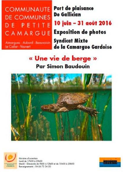 """<span style=""""color:#e80014; font-weight:bold;"""">Exposition<br />Une vie de Berges<br />Simon Baudouin</span><br />Port de Plaisance<br />Gallician<br /><span style=""""font-style:italic;"""">du 10 juin au 31 août</span>"""