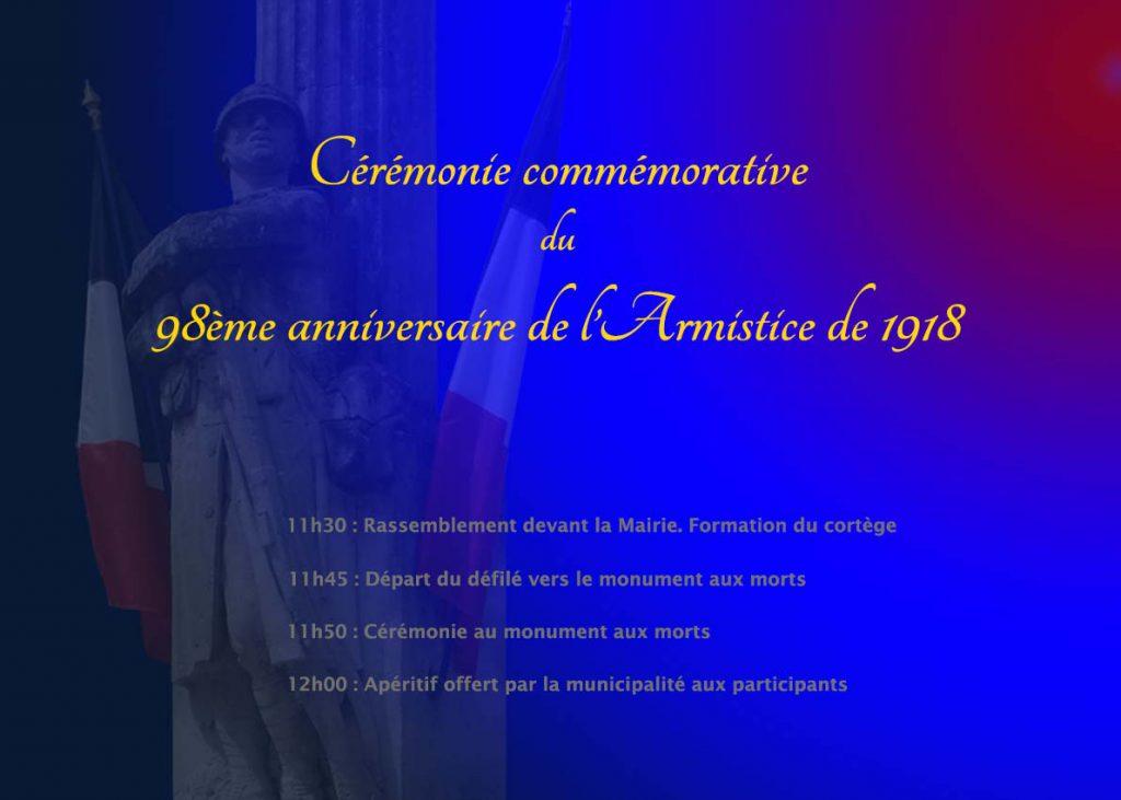 """<span style=""""color:#e80014; font-weight:bold;"""">Commémoration<br />Armistice de 1918</span><br />Monument aux morts<br /><span style=""""font-style:italic;"""">à 11h30</span>"""
