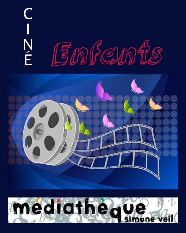 """<span style=""""color:#e80014; font-weight:bold;"""">Ciné Enfants</span><br />Médiathèque<br />Simone Veil<br /><span style=""""font-style:italic;"""">à 15h00</span>"""