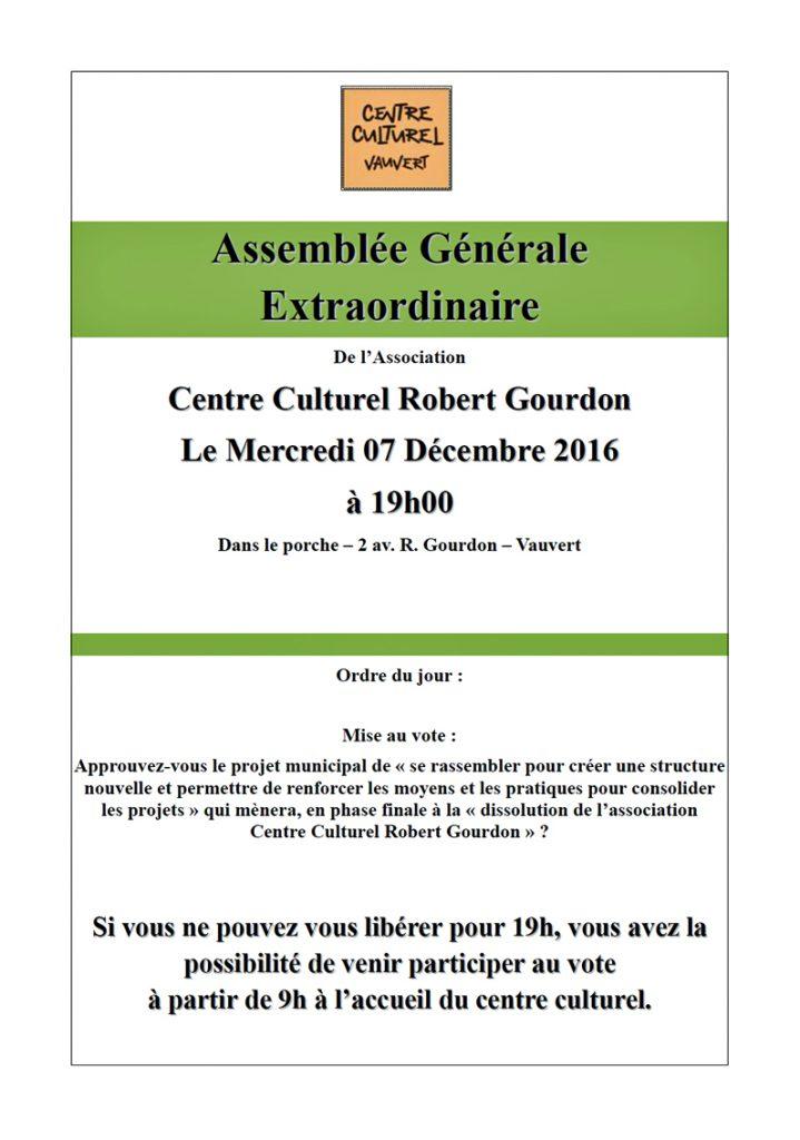 """<span style=""""color:#e80014; font-weight:bold;"""">Assemblée Générale<br />Centre culturel<br />Robert Gourdon</span><br />Hall du Coudoyer<br /><span style=""""font-style:italic;"""">à 19h00</span>"""