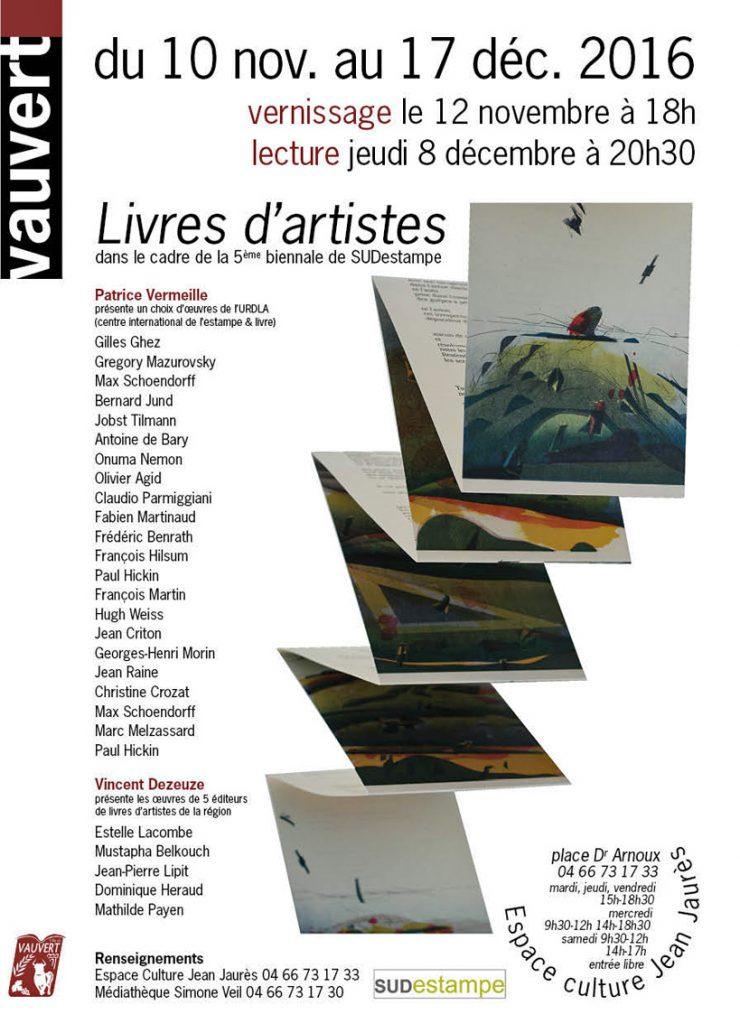 """<span style=""""color:#e80014; font-weight:bold;"""">Exposition<br />Livres d'artistes</span><br />Espace Jean Jaurès<br /><span style=""""font-style:italic;"""">du 10 novembre au 17 décembre</span>"""
