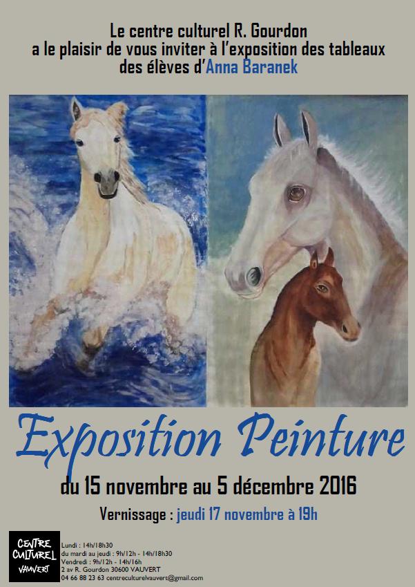 """<span style=""""color:#e80014; font-weight:bold;"""">Exposition Peinture</span><br />Centre culturel<br /><span style=""""font-style:italic;"""">du 15 novembre au 5 décembre</span>"""