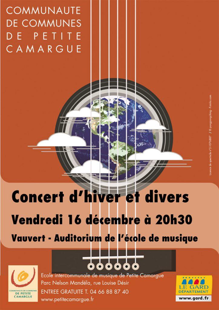 """<span style=""""color:#e80014; font-weight:bold;"""">Concert d'hiver<br />Ecole de musique<br />de Petite Camargue</span><br />Auditorium de l'école de musique<br /><span style=""""font-style:italic;"""">à 20h30</span>"""