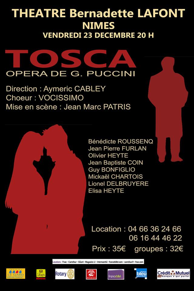 "<span style=""color:#e80014; font-weight:bold;"">TOSCA<br />de G. Puccini</span><br />Théâtre de Nîmes<br /><span style=""font-style:italic;"">à 20h00</span>"