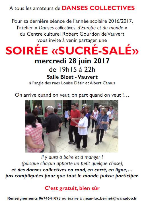 Soirée Sucré-Salée (danses collectives) @ Centre culturel Robert Gourdon à Vauvert