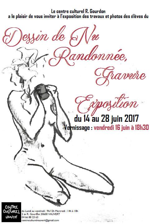 Exposition dessin de nu, Randonnée et Gravure @ Centre culturel Robert Gourdon à Vauvert