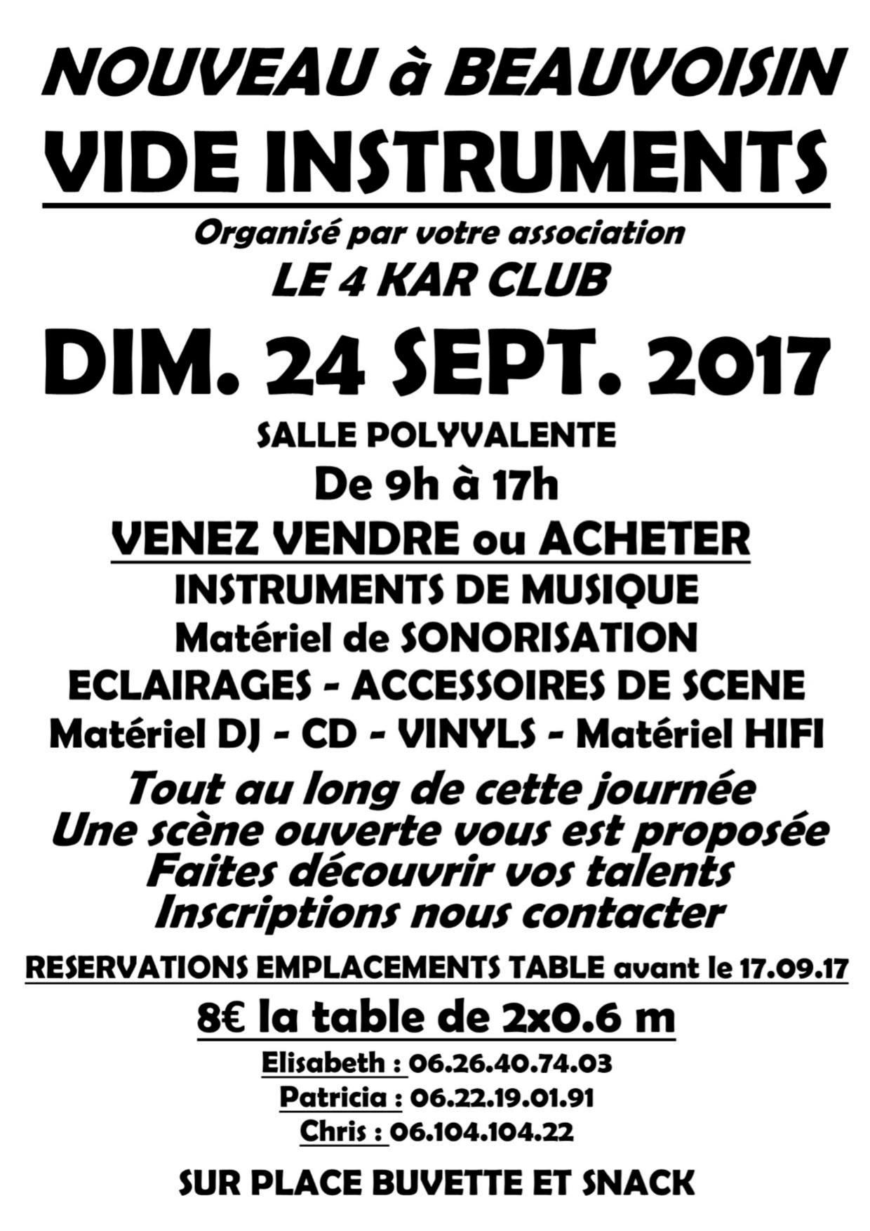 Vide instruments @ Salle polyvalente à Beauvoisin