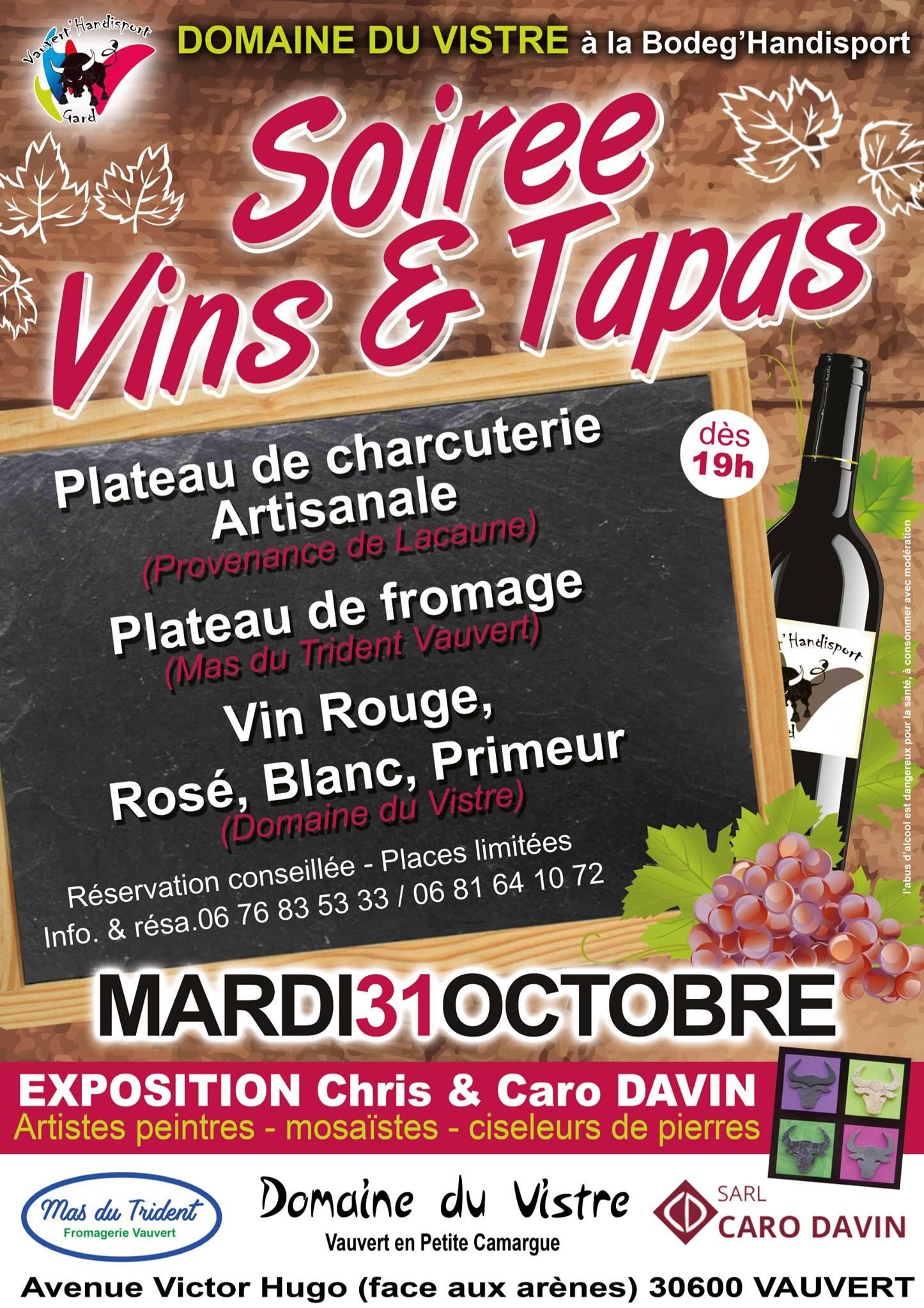 Soirée vins et tapas @ Bodeg'handisport à Vauvert