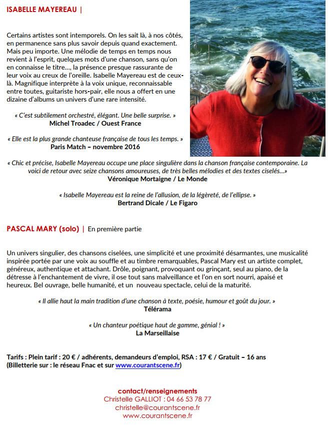 Concert Isabelle Mayereau @ Auditorium de l'école de musique à Vauvert